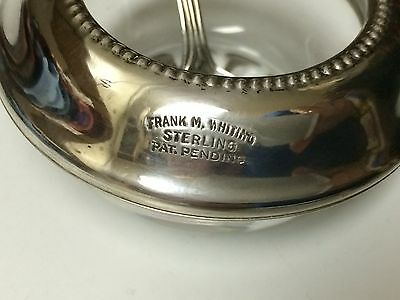 FRANK  M.WHITING STERLING SILVER/GLASS  SALT CELLAR & SPOON