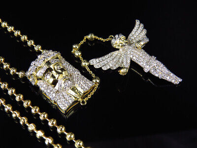 """XL Sterling Silver Icy Lab Diamond Angel /& Jesus Rosary in Black Gold Finish 32/"""""""