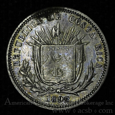 Costa Rica 5 Centavos 1892 EF/AU silver KM#128 Colorful toning Key date.