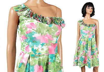 NEW One Shoulder Cocktail Dress 6 S Pink Green Floral Short Mini Prom Gown NWT