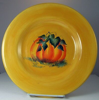 PUMPKIN PLATE Harvest Halloween HAND PAINTED VENICIA by Tabletops Unlimited
