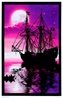 Moonlit Pirate Ghost Ship Blacklight Poster Print  23x35