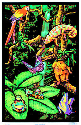 Rainforest Flocked Blacklight Poster Art Print - 24x36