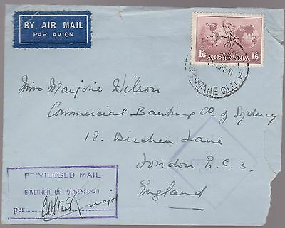 1941 Airmail 1'6 Hermes to UK with Privileged Mail Govenor Qld SIGNED Cover