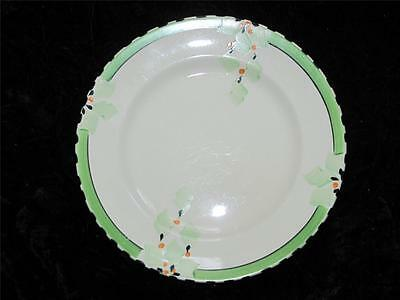 Vintage China Side Plate Burleigh Ware IVORY Green & Orange Pattern 1930s