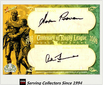 2008 Centenary NRL Master Set Oversize Duo Legend Signature Card Provan/Summons