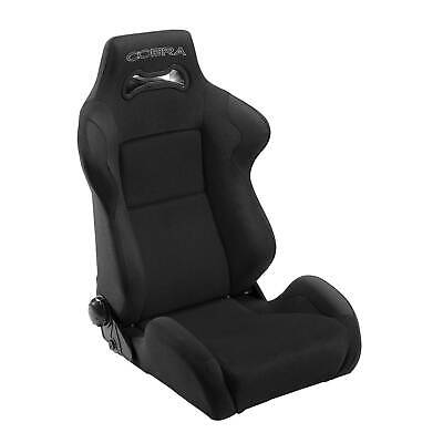 Cobra Daytona Reclining Fabric /Suede Sports Car Bucket Seat In Black