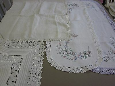 4 Pc Vintage Crocheted & Eyelet Lace Edged Table Runners Cutter Lot