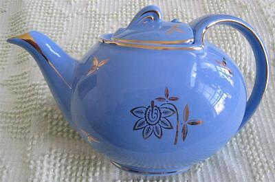 Hall China Cadet Blue Hook Cover 6 Cup Gold Decorated Teapot