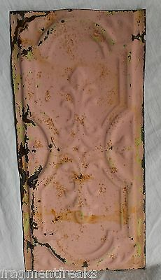 "6""x 12"" Antique Tin Ceiling Tile*SEE OUR SALVAGE VIDEOS* Vintage Pink Lm17"