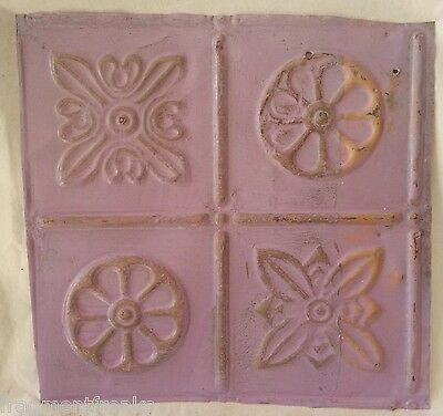 "12"" x 12"" Antique Tin Ceiling Tile *SEE OUR SALVAGE VIDEOS* Lilac Aa5"
