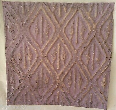 "Reclaimed  1890's Metal 12"" x 12"" Antique Tin Ceiling Tile Lilac Aa7"