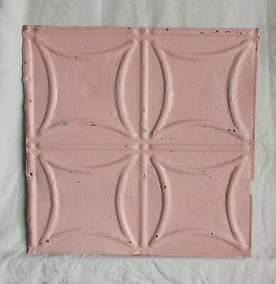 "1890's Reclaimed Metal 12"" x 12"" Antique Tin Ceiling Tile Pink Pz7"