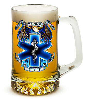 25 oz Glass Tankard Beer Mug Stein with EMS Star of Life and Eagle