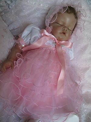 Pink Ruffled Organza skirt with White Embroidered Top Dress For Reborn Baby
