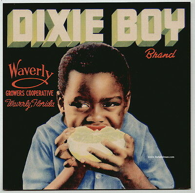 DIXIE BOY Vintage Florida Citrus Crate Label, Black Americana  AN ORIGINAL LABEL