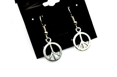 Small Peace Earrings Antiqued Silver Plated With Hypoallergenic Ear Wires