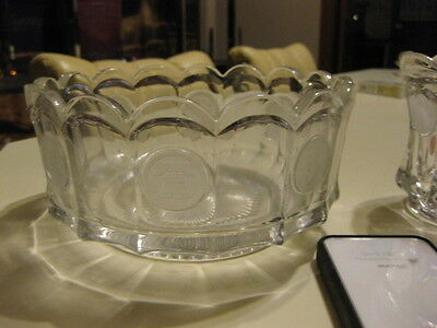 Vintage Fostoria Etched Coin Bowl 1886
