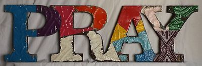 "Vintage Tin Ceiling Patchwork PRAY Wall Art 8"" x 27"" Metal Multicolor"