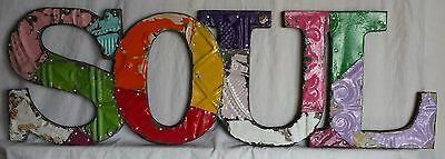 "Vintage Tin Ceiling Patchwork SOUL Wall Art 8"" x 25.5"" Metal Multicolor"