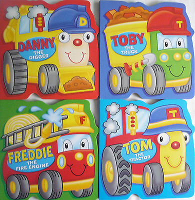 Various Early Reading Colourful Board Books -Tractor, Truck, Digger, Fire Engine