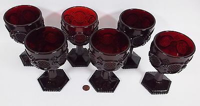 Six Ruby Red 1876 Cape Cod Water Goblets from Avon by Wheaton Glass Co.