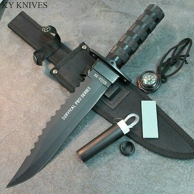 "14"" Carbon Steel Military Style Survival Hunting Knife Sheath & Kit 5222A-BK zix"