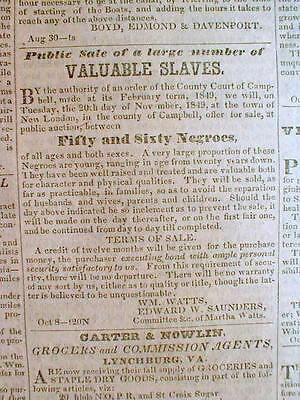 Original 1849 LYNCHBURG VIRGINIA newspaper SLAVES 4 SALE AD 12 yrs PRE CIVIL WAR