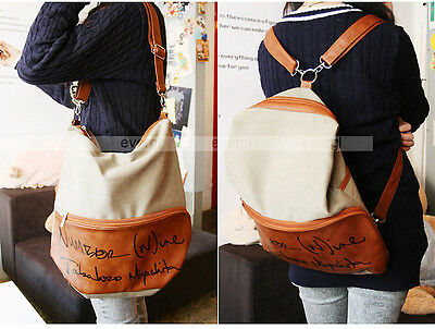 New Korean Style Lady Girl Canvas PU Leather Hobo Backpack Satchel Shoulder Bags