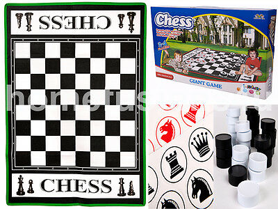 Giant Chess & Draughts Kids Garden Outdoor Indoor Game Playmat Mat Family Fun