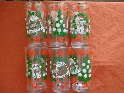 Set 6 Vintage 1950s Hazel Atlas Merry Christmas Happy New Year Glasses Red Green