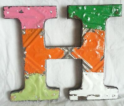 """Antique Tin Ceiling Wrapped 8"""" Letter """"H"""" Patchwork Metal Mosaic"""
