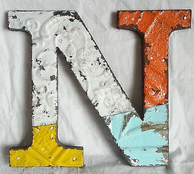 """Antique Tin Ceiling Wrapped 8"""" Letter """"N"""" Patchwork Metal Mosaic"""