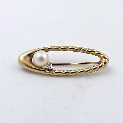 VINTAGE 14K YELLOW GOLD PEARL DIAMOND BROOCH PIN 3.0gr