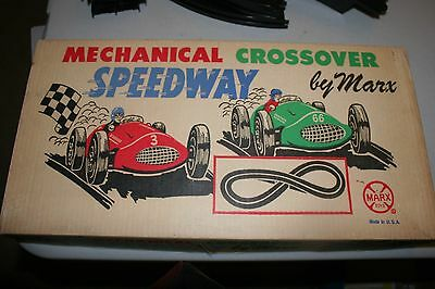 Vintage 1950's MARX MECHANICALCROSSOVER SPEEDWAY in ORIGINAL BOX W/ CARS & ACC.