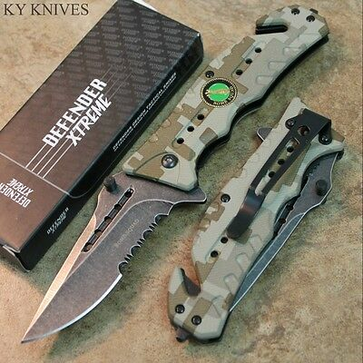 """8"""" Bomb Squad STONE WASHED BLADE Assisted Open Rescue Pocket Knife CAMO 7347 zix"""