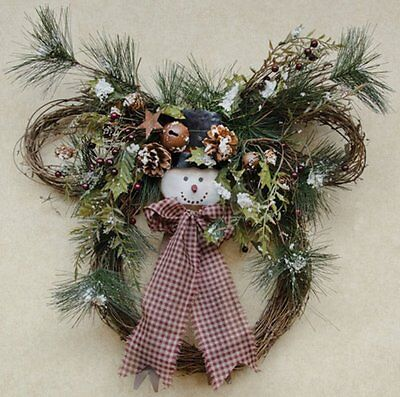 """Rustic Snowy Snowman Christmas Wreath With Jingle Bells And Stars Approx 20"""" D"""
