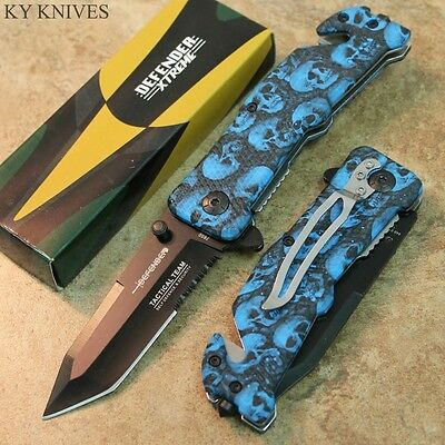 """8"""" Neon Blue Tactical Assisted Open Rescue Pocket Knife Tanto Blade 7650 zix"""