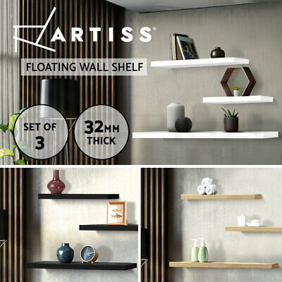 3PCS Wall Floating Shelf Set Concealed Shelves Bookshelf Shop Display 3 Colours