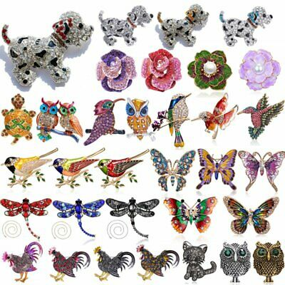 Fashion Womens Crystal Rhinestone Animal Cat Dog Flower Butterfly Brooch Pin New