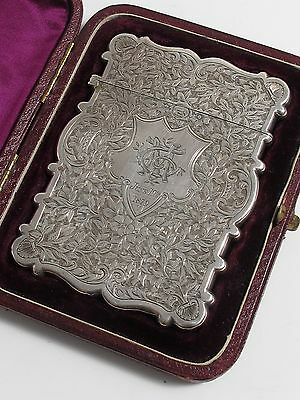 ANTIQUE VICTORIAN SOLID 925 STERLING SILVER ORNATE CALLING CARD CASE FITTED CASE