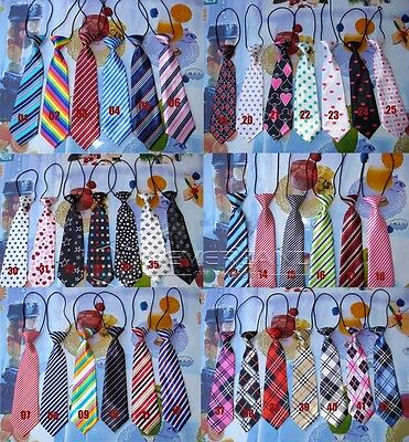NEW Children Kids Elastic Tie School Boys Necktie Wedding Patterns Solid Striped