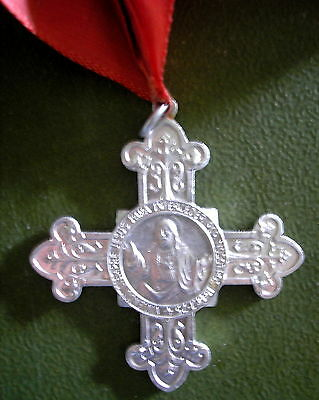 SACRED HEART OF JESUS DOUBLE SIDE CROSS MEDAL w/ RED PECTORAL RIBBON