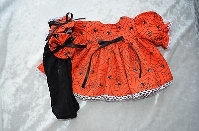 """14"""" BABIES CABBAGE PATCH DOLL HALLOWEEN DRESS TIGHTS & BOWS"""