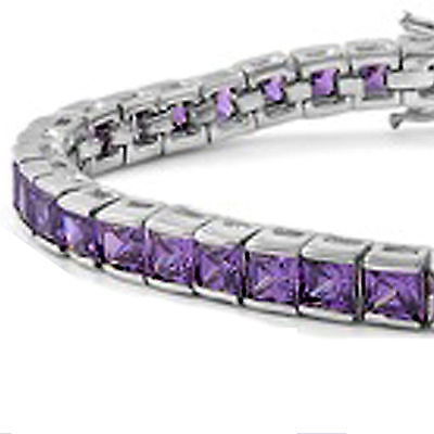 February Birthdays! Princess Cut Amethyst .925 Sterling Silver Bracelet 7.5""