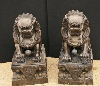 Pair XL Bronze Chinese Foo Dogs Keiloon Fu Temple Statue China