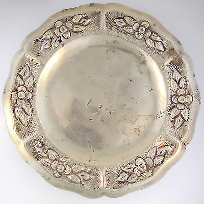 Maciel Silver Child's Plate Saucer VTG Sterling 900/1000 Repousse Flowers Mexico