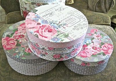 New SET of 3 PARIS w PINK ROSES/Floral & FRENCH SCRIPT Nesting Storage HAT BOXES