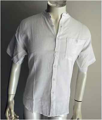 BNWT  men,s s/s white cheese cloth shirts,size=L