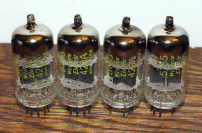 Matched quad NOS Western Electric 420A 5755 black plates tubes #7